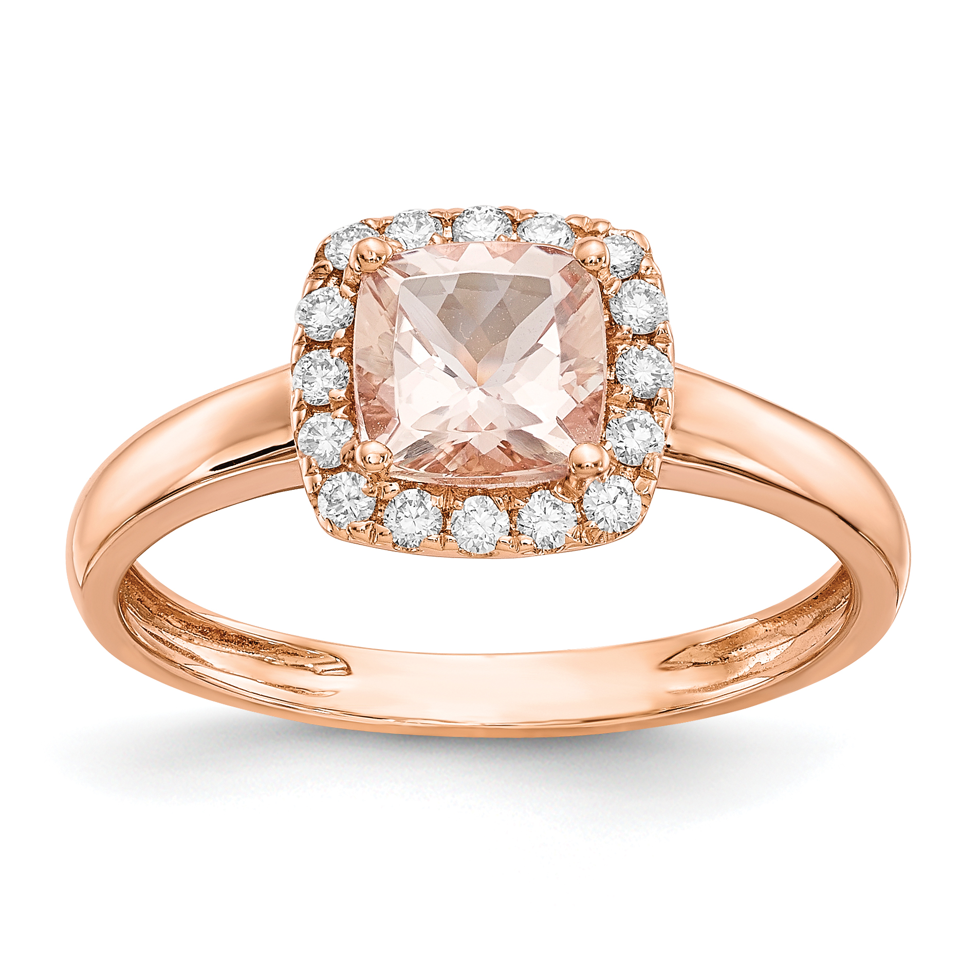ICE CARATS 14kt Rose Gold Pink Morganite Diamond Band Ring Size 7.00 Fine Jewelry Ideal Gifts For Women Gift Set From... by IceCarats Designer Jewelry Gift USA