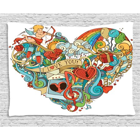 I Love You Tapestry, Love with Eros Arrow Music Present Boxes Swirls Balloons Ring Marry Me Concept, Wall Hanging for Bedroom Living Room Dorm Decor, 80W X 60L Inches, Multicolor, by Ambesonne - Marry Me Balloons