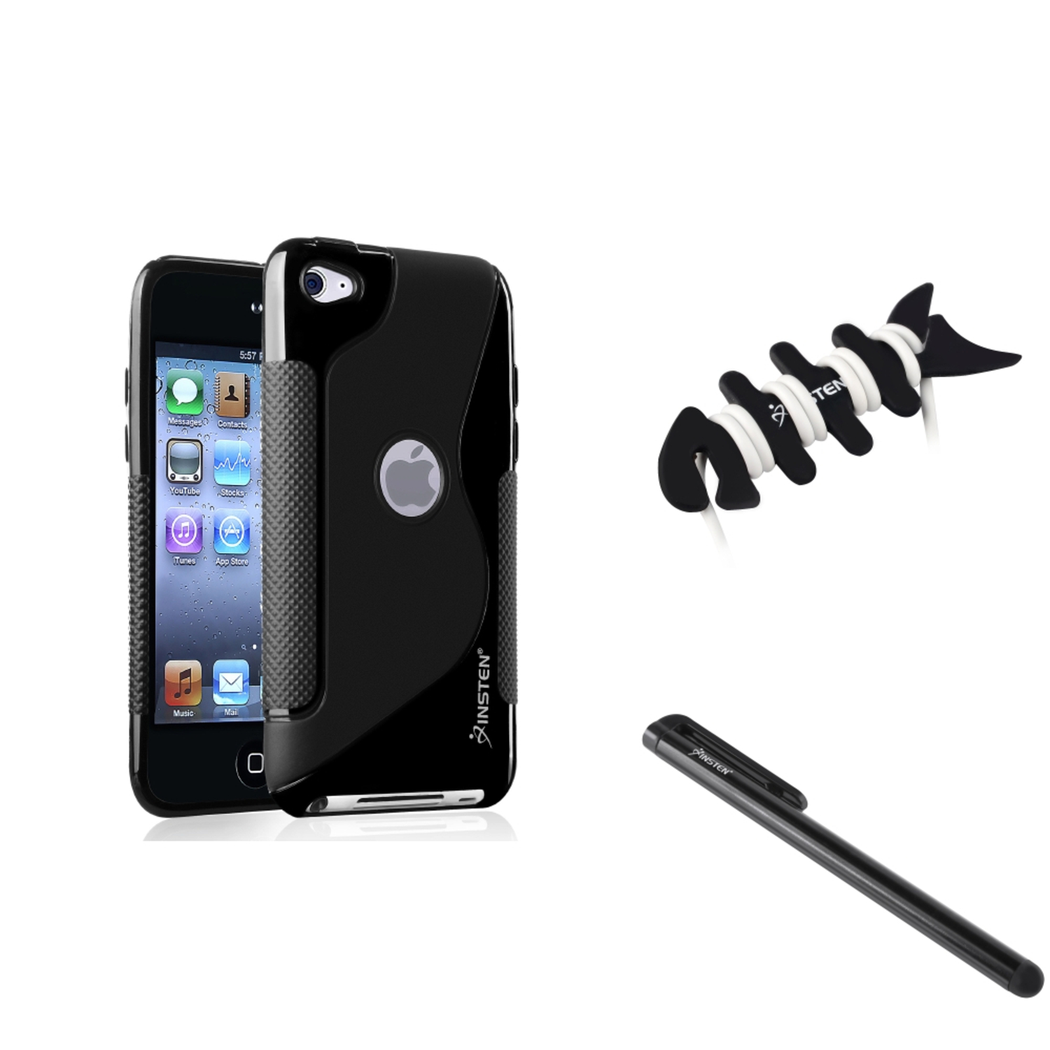 Insten Frost Black S Shape TPU Case+Black Pen For Apple iPod touch 4 4th Gen 4G+Fishbone Wrap