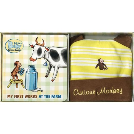 Curious Baby My First Words at the Farm Gift Set (Curious George Book & Hat)](Boy First Communion Gifts)