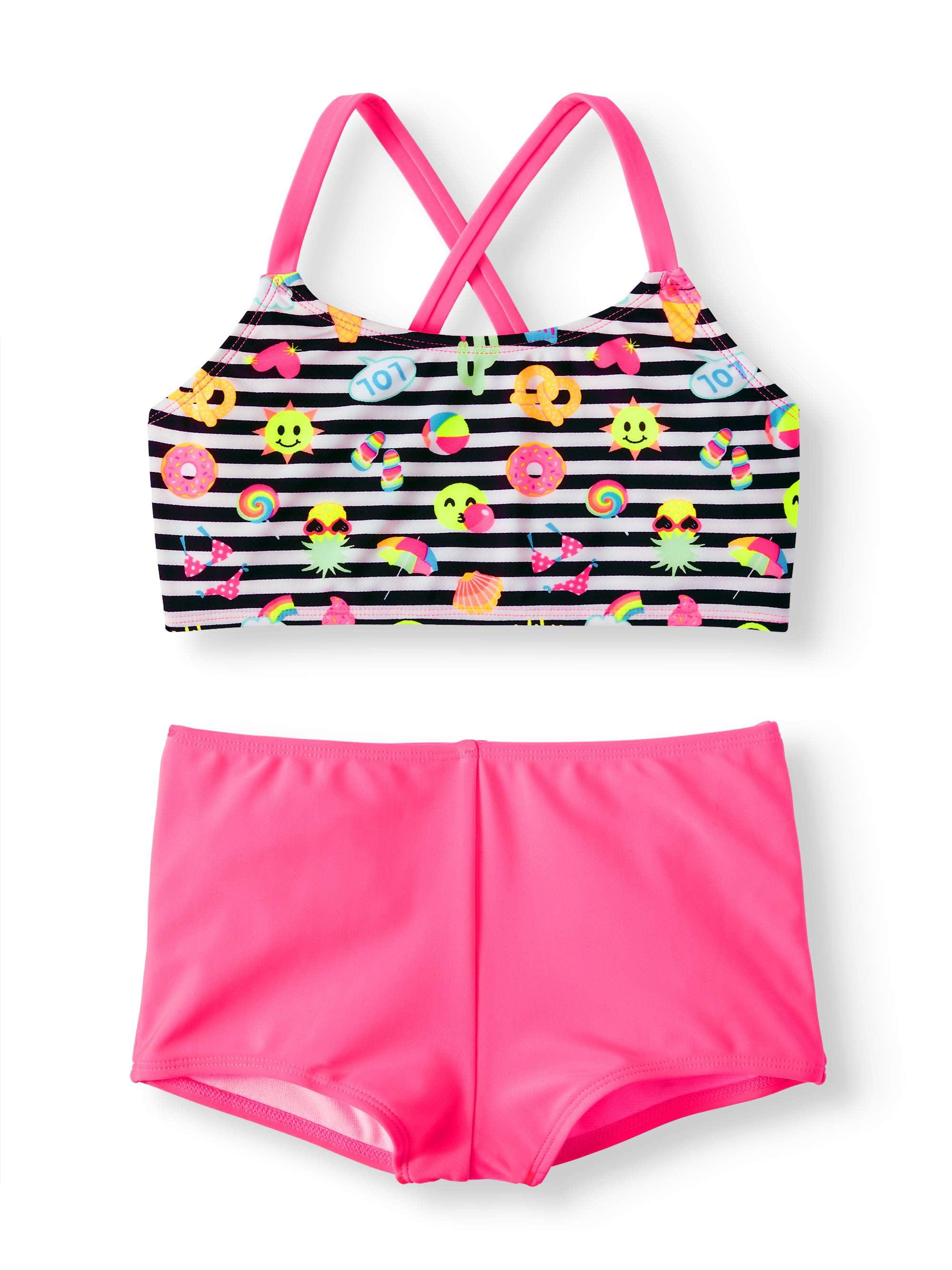 c3c939cf0a Wonder Nation - Cross-back Bikini Boyshort Swimsuit (Little Girls & Big  Girls) - Walmart.com
