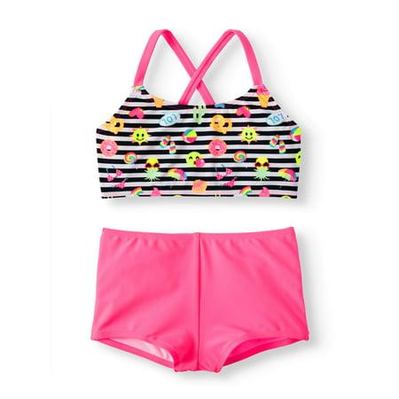 Cross-back Bikini Boyshort Swimsuit (Little Girls & Big (Sexy Girls In Bikinis With Big Boobs)