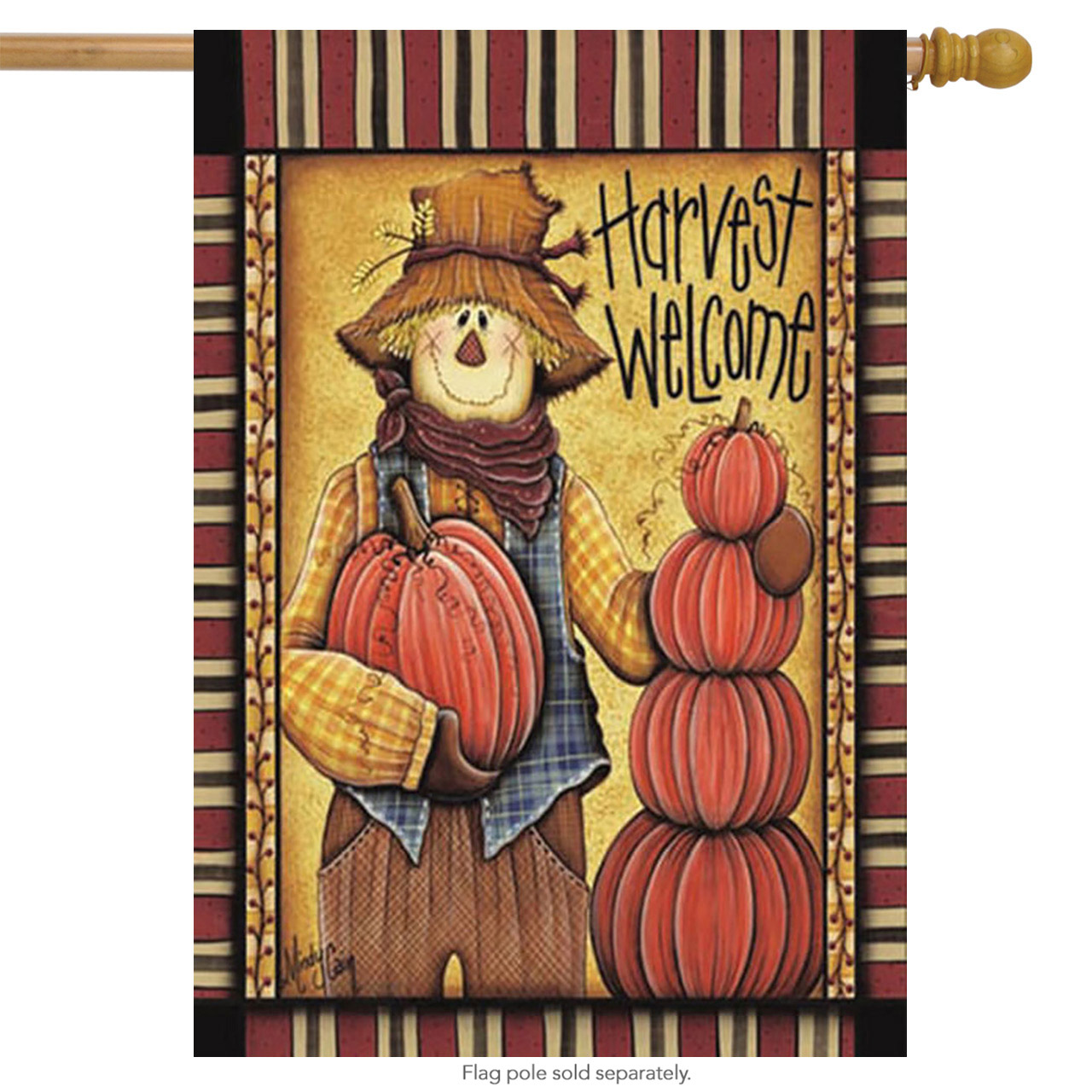 "Harvest Welcome Fall House Flag Scarecrow Pumpkins 28"" x 40"""