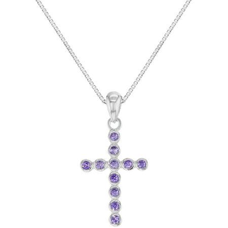925 Sterling Silver Cross Necklace Girls Kids Christening Pendant Purple CZ 16