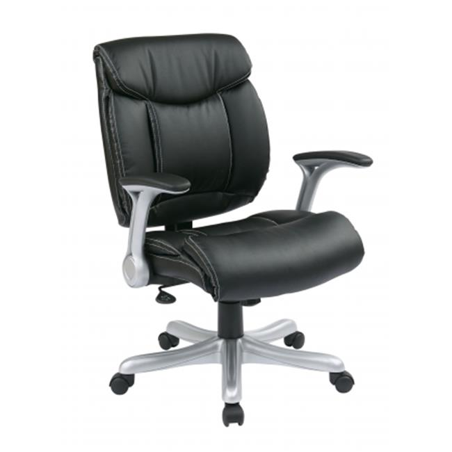 Avenue 6 Office Star ECH8967R5-EC3 Executive Eco Leather Chair in Silver-Black