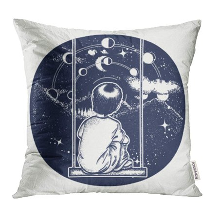 YWOTA Boy on Swing in Mountains Dreamer Tattoo Looks at Stars Symbol of  Poetry Psychology Pillow Cases Cushion Cover 18x18 inch