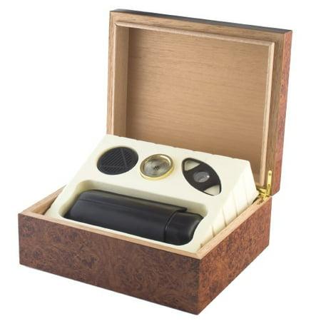 Gift Set Executive Burl 25 Count Cigar Humidor
