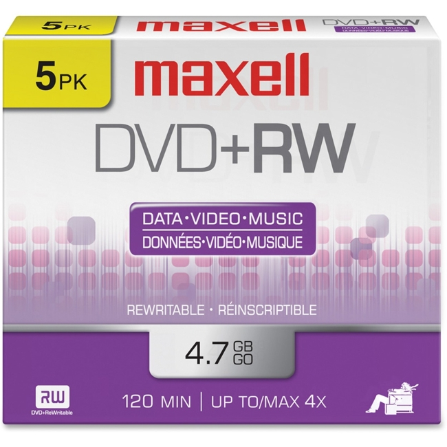 Maxell 634045 4.7GB DVD+RWs with Jewel Cases, 5pk
