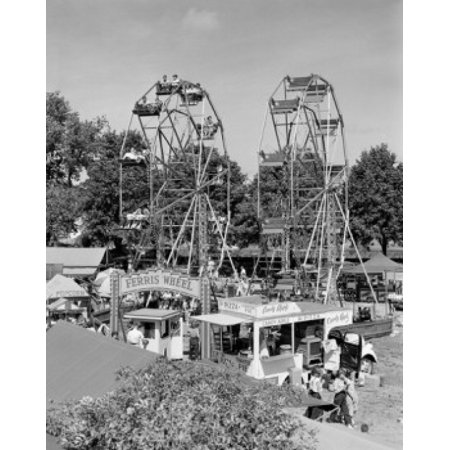 Worlds Fair Ferris Wheel - Ferris wheels at fun fair Stretched Canvas -  (18 x 24)