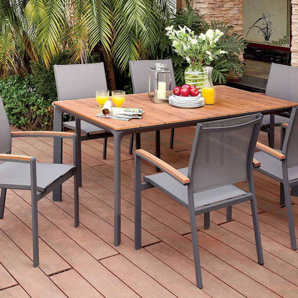 Contemporary Outdoor Seating: Oshawa Contemporary Patio Dining Table, Oak/Gray