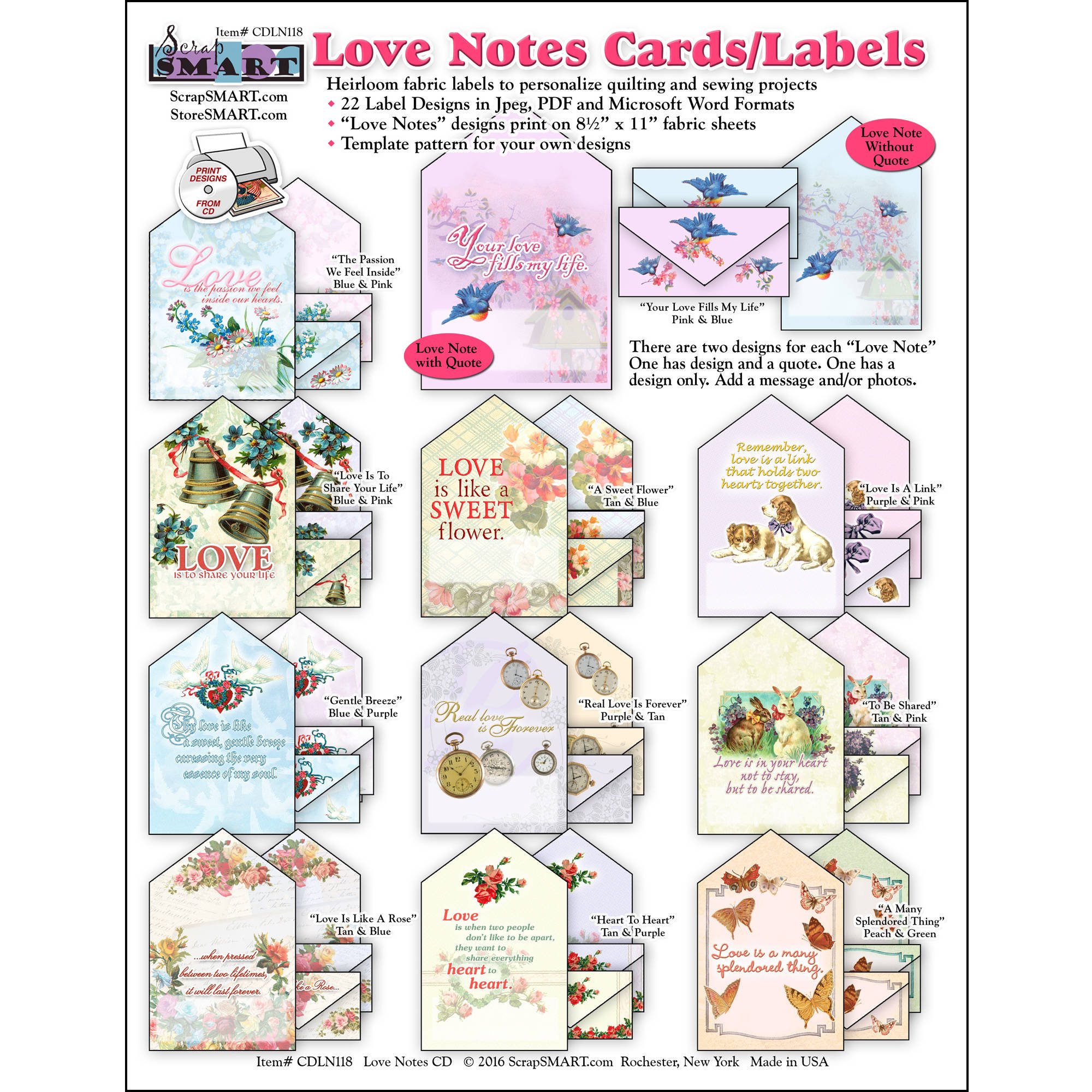 ScrapSMART Love Notes Fabric Labels CD-ROM: Label Designs, Patterns and Instructions