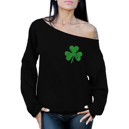 Awkward Styles St Patricks Sweater Irish Clover Pocket Sweatshirt St. Patricks Day Off the Shoulder Top Proud Irish Sweatshirt for Women Lucky Shamrock Sweater Irish Gifts for Her St Paddy's Day - St Patricks Day Clothing