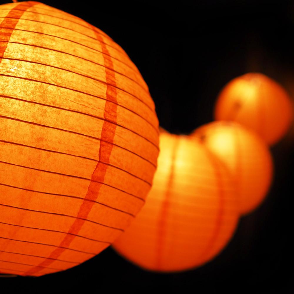 "MoonBright 12"" Orange Paper Lantern Outdoor String Light Set (10-PACK Combo Kit) by PaperLanternStore"