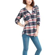 Women's Chic Check Pattern Button-Front Hooded Shirt