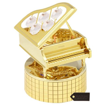 Matashi Crystal Wind Up Music Box with Crystal Studded Grand Piano Sculpture