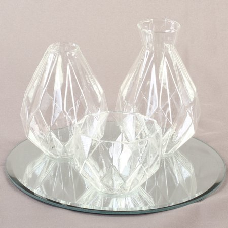 Koyal Wholesale Clear Cocktail Table Bud Vase Assortment Centerpiece with Round Bevel Mirror, High TableDecorations ()