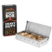 Grillaholics Heavy Duty Stainless Steel Wood Chip Smoker Box for Gas Grills