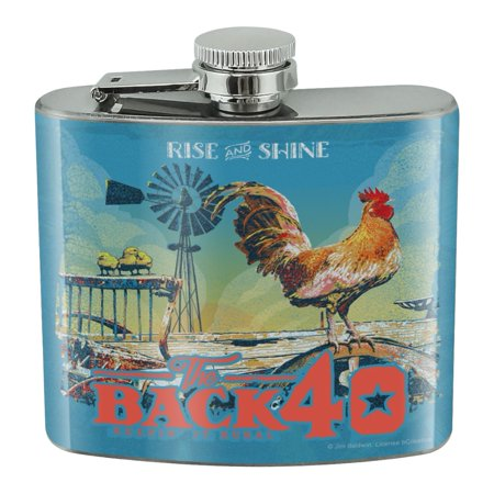 Back 40 Barn Keepin' It Rural Rise and Shine Rooster Farm Farming Stainless Steel 5oz Hip Drink Kidney (Best Way To Shine Stainless Steel)
