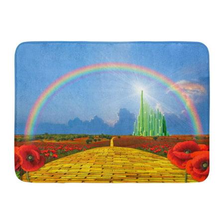 GODPOK Poppies Field Yellow Brick Road Leading to The Oz Emerald City Flowers Follow Rug Doormat Bath Mat 23.6x15.7 inch