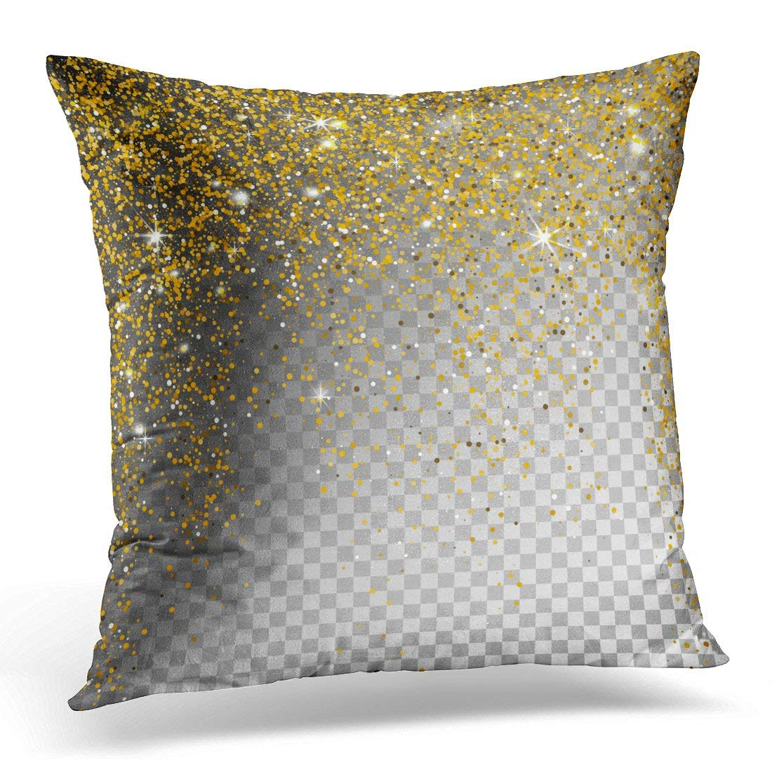 USART Black Golden Christmas Falling Snow Gold Glitter Particles on Sparcle Abstract Snowflake Yellow Festive Pillow Case Pillow Cover 20x20 inch