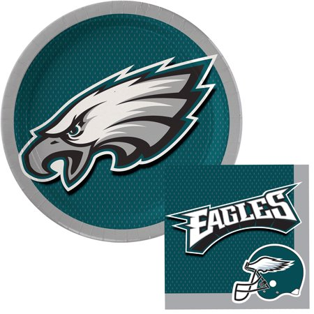 Philadelphia Eagles Plates Napkins Super Bowl 52 Party Pack, Green, Serves 8 (Super Bowl Party Decorating Ideas)