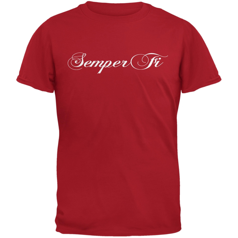 Semper Fi Script Red Adult T-Shirt