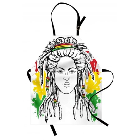 Rasta Apron Grunge Ethiopian Flag Colors with a Black and White Sketchy Girl Image, Unisex Kitchen Bib Apron with Adjustable Neck for Cooking Baking Gardening, Red Marigold and Green, by -