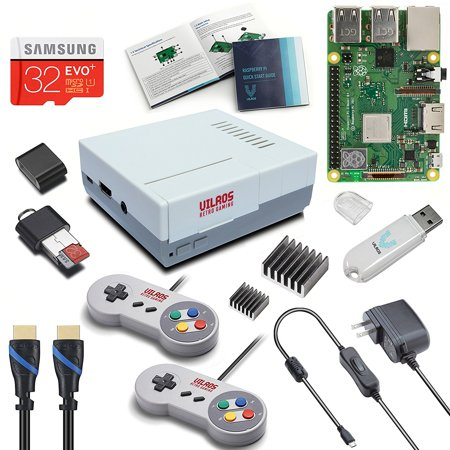 Vilros Raspberry Pi 3 Model B+ (B Plus) Retro Arcade Gaming Kit with 2 Classic USB Gamepads