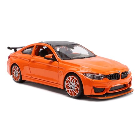 BMW M4 GTS Orange with Carbon Top and Orange Wheels 1/24 Diecast Model Car by