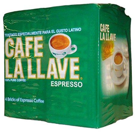 Cafe La Llave Espresso, 100% Pure, Dark Roast, Fine Ground Coffee, 10 oz. Brick (Pack of 4)