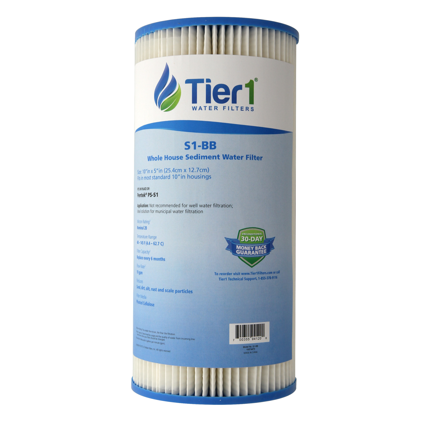 Tier1 S1-BB 20 Micron 10 x 4.5 Resin Impregnated Pleated Cellulose Sediment Pentek S1-BB Comparable Replacement Water Filter - Not for Well Water