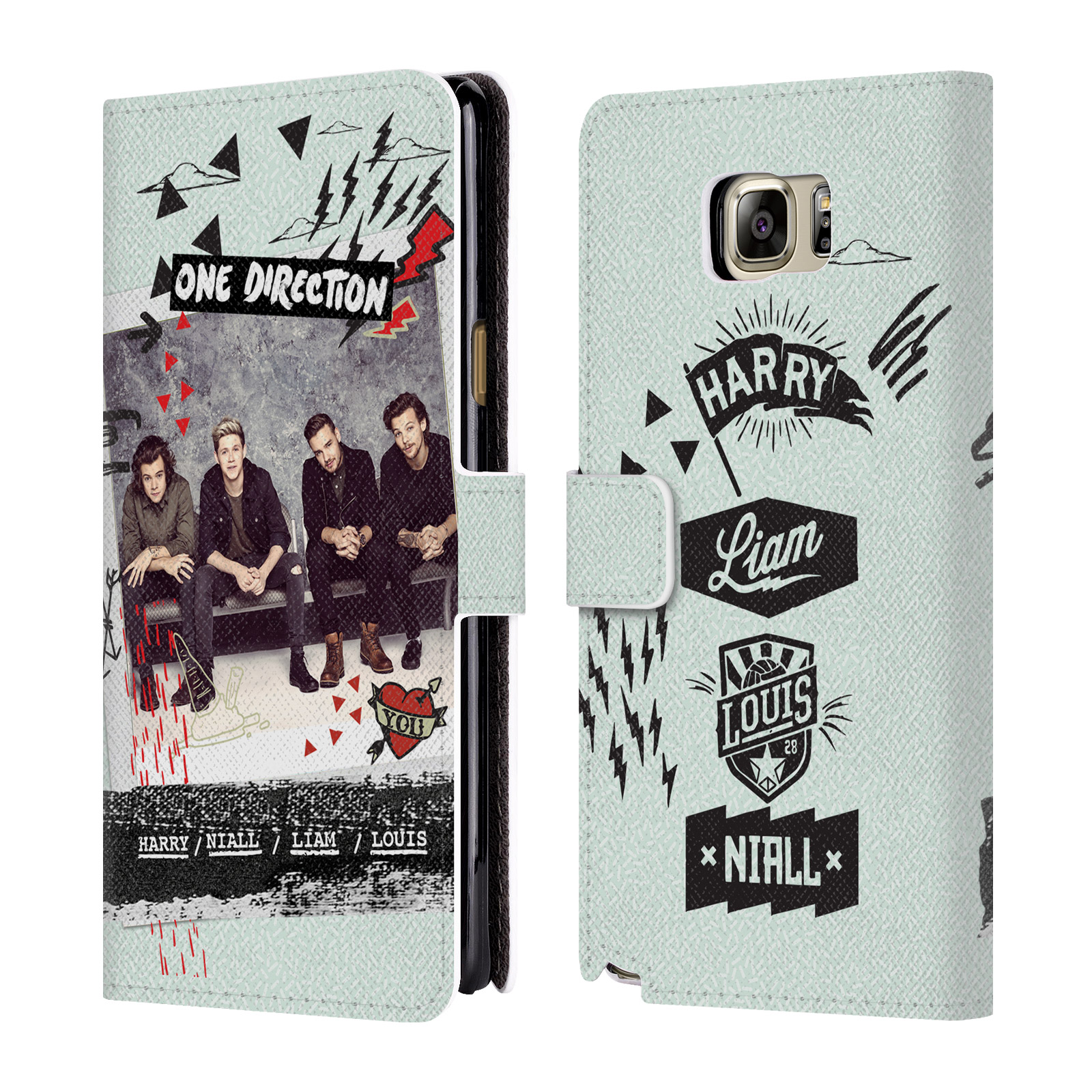 OFFICIAL ONE DIRECTION MIDNIGHT MEMORIES SHOTS GROUP LEATHER BOOK WALLET CASE COVER FOR SAMSUNG PHONES 1