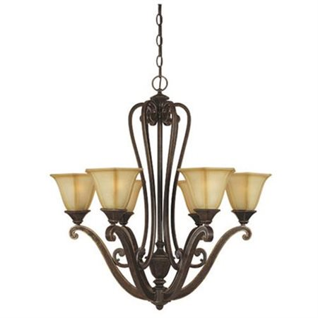 Designers Fountain 81186-IW Olympia 6 Light Chandelier with Topaz Mist Glass Shades in Imperial Walnut Finish ()