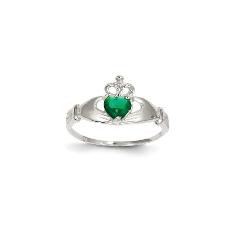 White Gold Irish Claddagh Ring - 14K White Gold Cubic Zirconia May Birth Month Claddagh Heart Ring