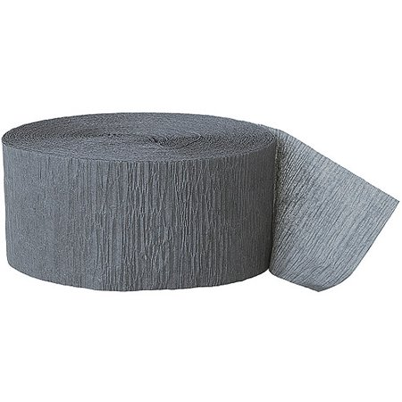 (2 pack) Gray Crepe Paper Streamers, 81ft