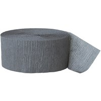 Gray Crepe Paper Streamers, 81ft