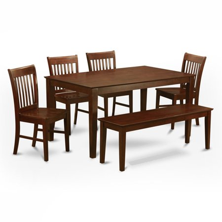 East west furniture capris 6 piece rectangular dining for 13 piece dining table set