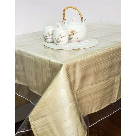 "Clear Vinyl Tablecloth Protector, Durable Double Stitched Edges Dining Tablecloth Cover (52""x70"")"