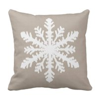 ARTJIA Beige Christmas Ikat Snowflake Taupe Tan and Snow Pillowcase Cover 20x20 inch