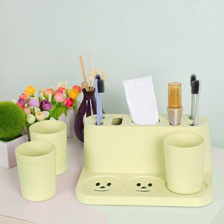 Home Plastic Toothbrush Holder, 3 Cups Toothpaste Storage Organizer for Bathroom Apple Green ()