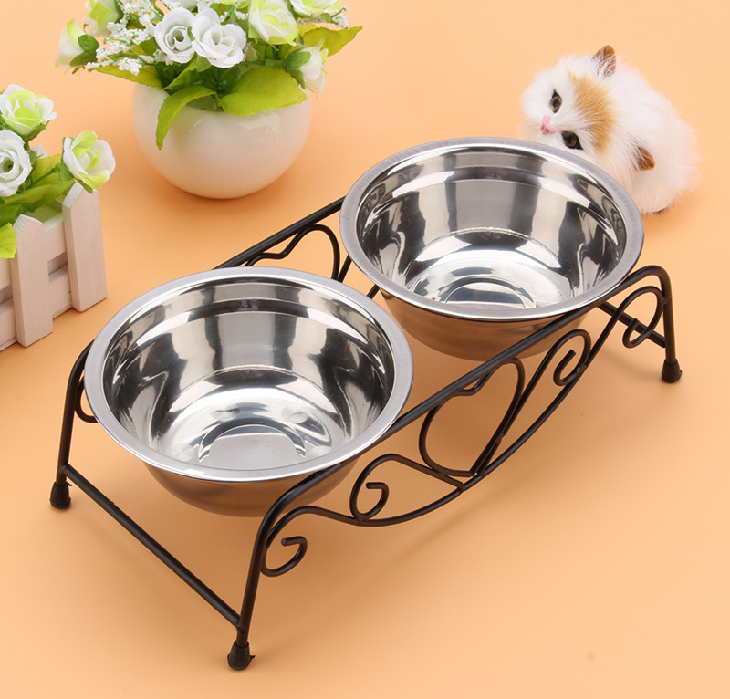 Double Pet Bowl,Double Pet Feeder Dishes,Pet Cat Dog Puppy Food and Water Dish Bowls with Retro Iron Stand