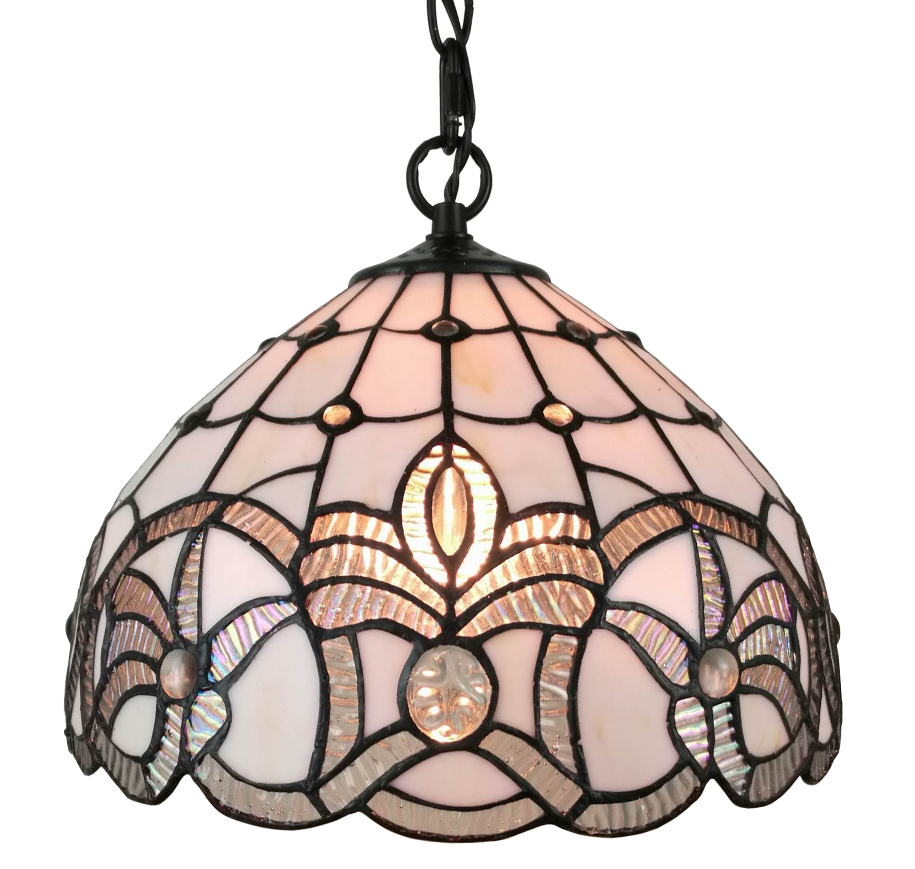Amora Lighting Tiffany Style AM282HL12 White Ceiling Fixture 12 Inches Wide by Amora Lighting