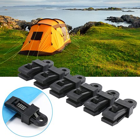 WALFRONT 6pcs High Strength Plastic Tent Clamp Clips Heavy Duty Locking Tarp Clips For Outdoor Camping, clamp tarp, tarp clip (Heavy Duty Custom Intake Clamps)