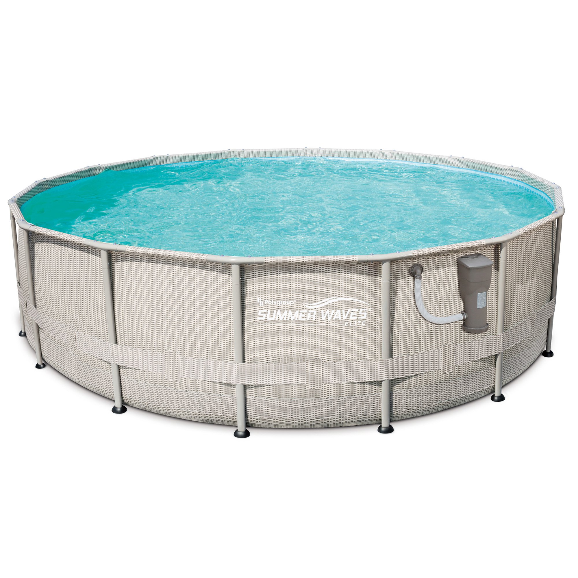 """Summer Waves 16' x 48"""" Elite Frame Above Ground Swimming Pool Set with Ladder"""