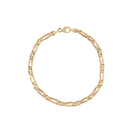 10K Yellow Gold Alternating Round and Oval Links Bracelet,