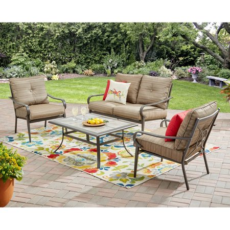 Mainstays Charleston Park 4-Piece Patio Set, Brown - Mainstays Charleston Park 4-Piece Patio Set, Brown - Walmart.com