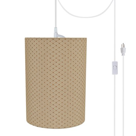 Aspen Creative 71267-21 One-Light Plug-In Swag Pendant Light Conversion Kit with Transitional Drum Fabric Lamp Shade, Beige, 8