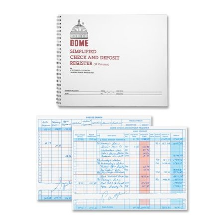 Dome Publishing Check And Deposit Register   50 Sheet S    Wire Bound   8 50   X 10 25   Sheet Size   1Each  Dom210