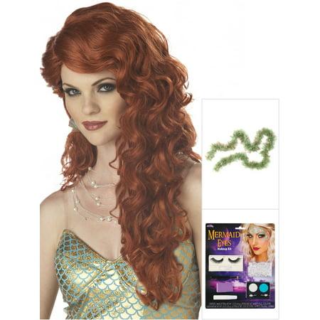 Mermaid Auburn Adult Wig with Sea Weed Boa and Mermaid Eye Make Up Kit](Auburn Mermaids)