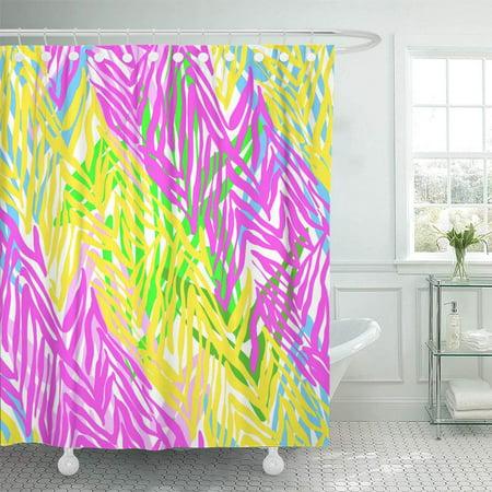 PKNMT Pink Tropical Zebra Pattern Stripes Animal Striped Colorful Yellow Africa Curve Bathroom Shower Curtains 60x72 - Yellow Zebra Stripe